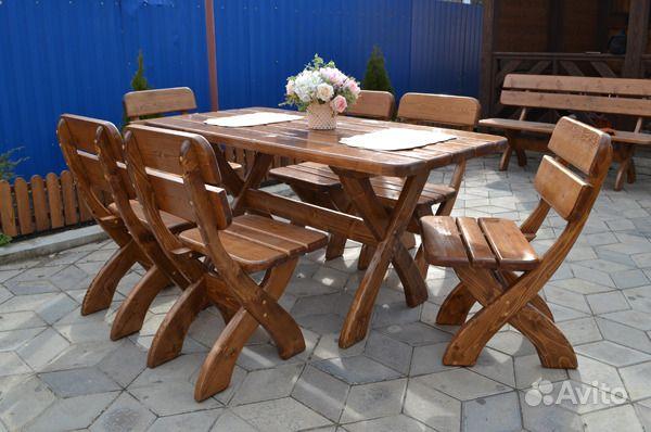 Комплект мебели для сада и дачи из массива сосны. Краснодарский край, Сочи