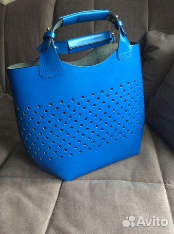 Синяя сумка-шопер Capriccio FURLA - aizelru