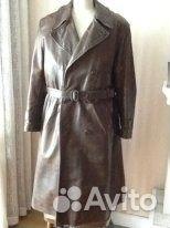 Пальто военное кожаное ретро  fe7b030e70d63
