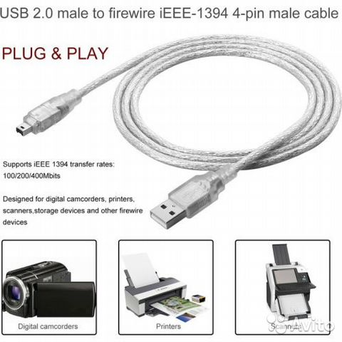 Кабели Firewire iEEE 1394 4-контактный iLink купить 1