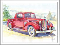 "Картина ""Red Car"",30*40,акварель"