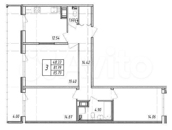 3-к квартира, 81.8 м², 6/9 эт.  89093939533 купить 5