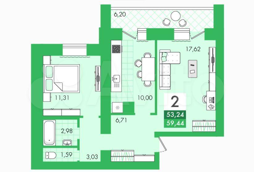 2-к квартира, 59.4 м², 3/10 эт.