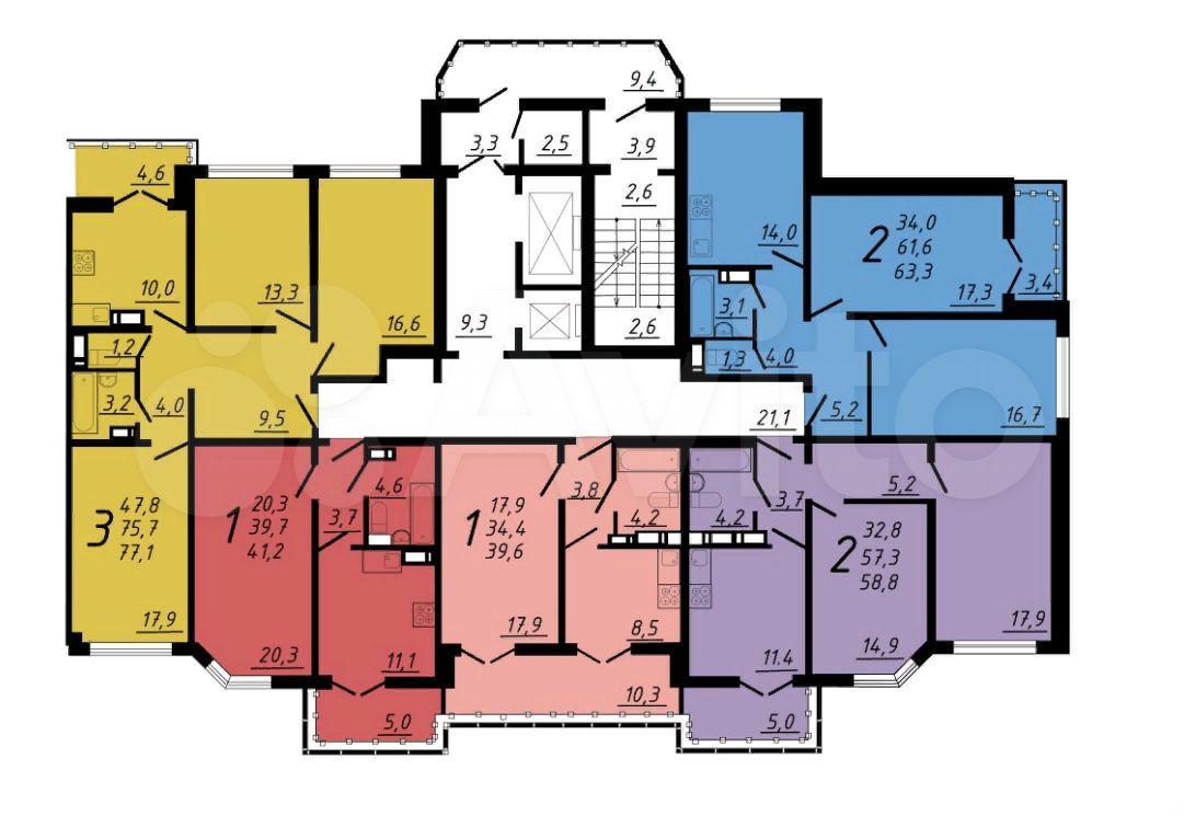 2-к квартира, 58.8 м², 5/17 эт.  89290111193 купить 5